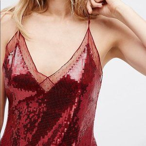 FREE PEOPLE Sassy in Sequins Red Tank Top camisole